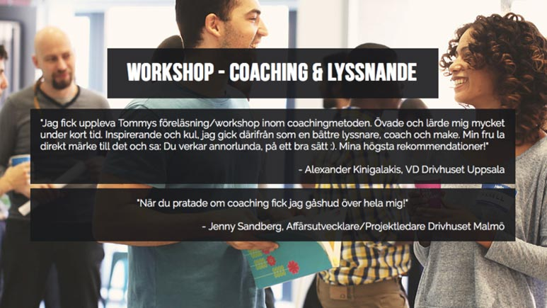 "Tommy Davidovics workshop ""Coaching & Lyssnande"""